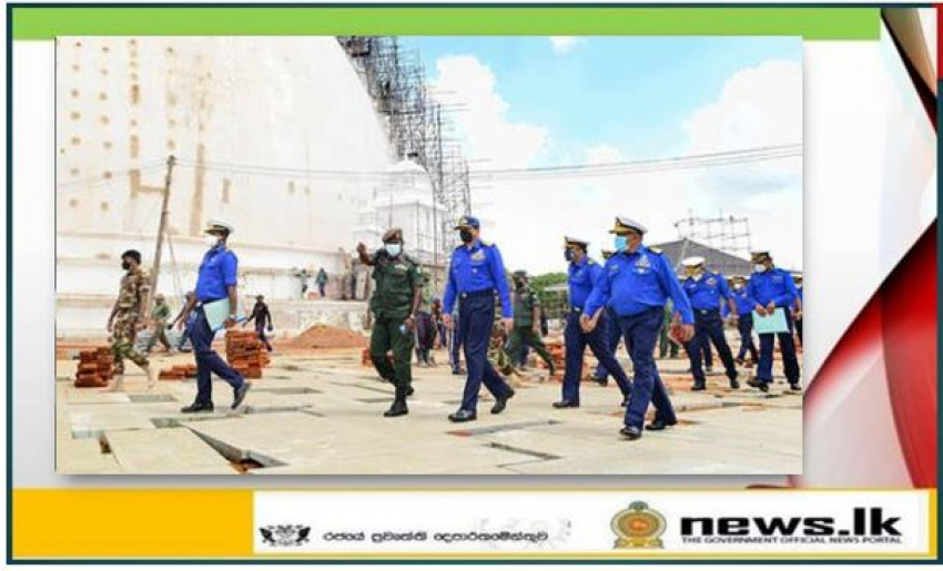 Commander of the Navy visits 'Sanda Hiru Seya' in Anuradhapura to review ongoing construction