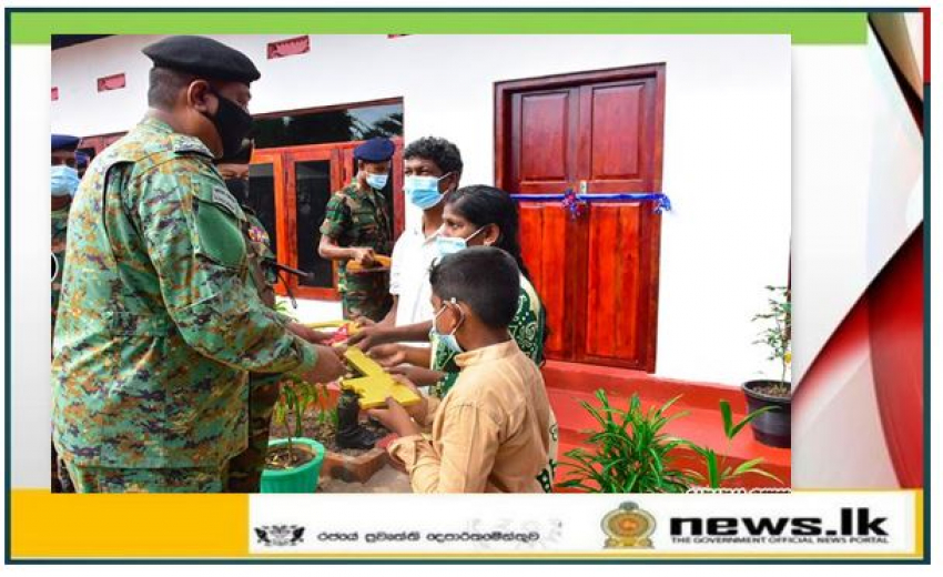 New House Construction for Needy Families in Kilinochchi in Full Swing: 3 More Army-built New Houses Given