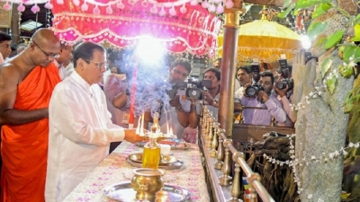 Alms giving and Ashirwada Bodhi Pooja held to mark President's birthday